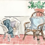 Observational painting using ink and watercolour