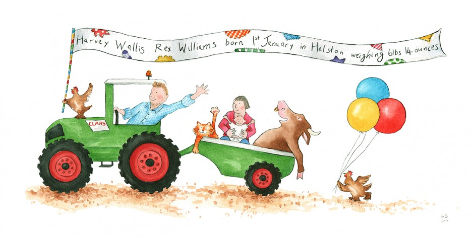 Christening Present. Illustration Personalised with Family Members and Pets