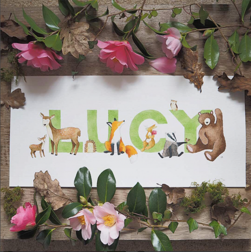 Commissioned Illustrated Children's Name for a Nursery